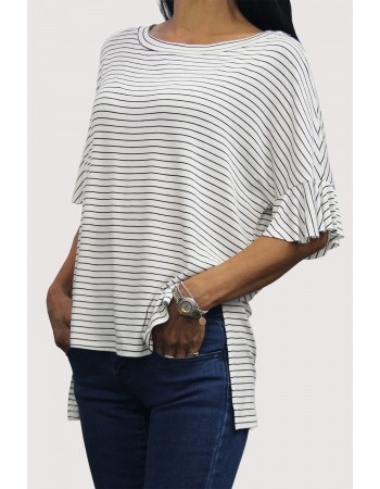 Step Hem Ruffle Sleeve Tunic