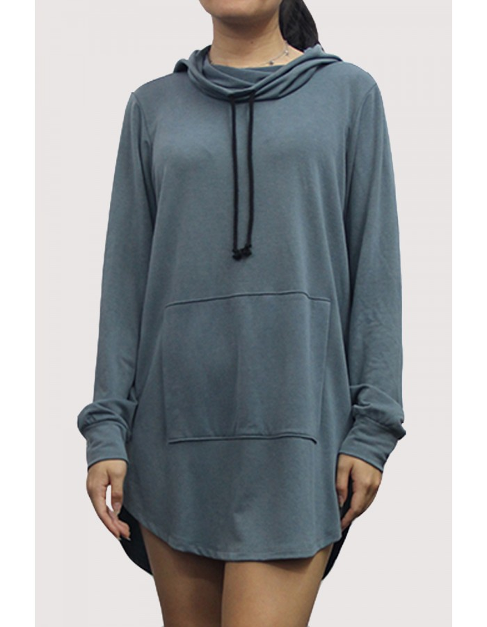 French Terry Zip Back Hoodie Sweatshirt