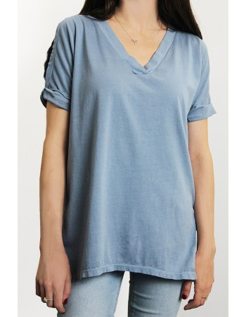 Cotton Jersey V-Neck Cold Shoulder Tunic Tee
