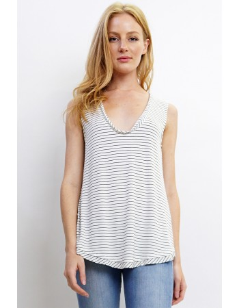 Soft Stripe Knit Deep U Neck Tank
