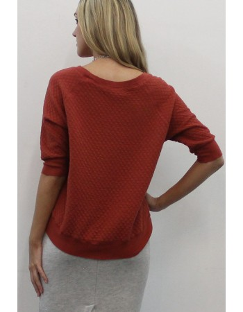 Quilted Raglan Elbow Sleeve Top