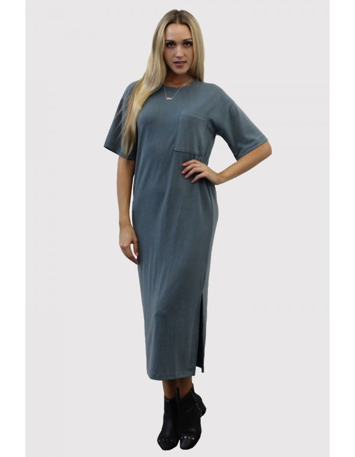 French Terry Maxi Dress with Slit