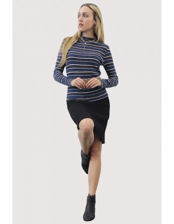 Brushed Multi Stripe Funnel Neck Top