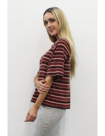 Brushed Multi Stripe Raglan Elbow Sleeve