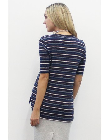 Brushed Multi Stripe Step Hem Crew