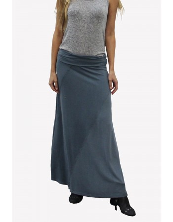 Washed French Terry Foldover Maxi Skirt