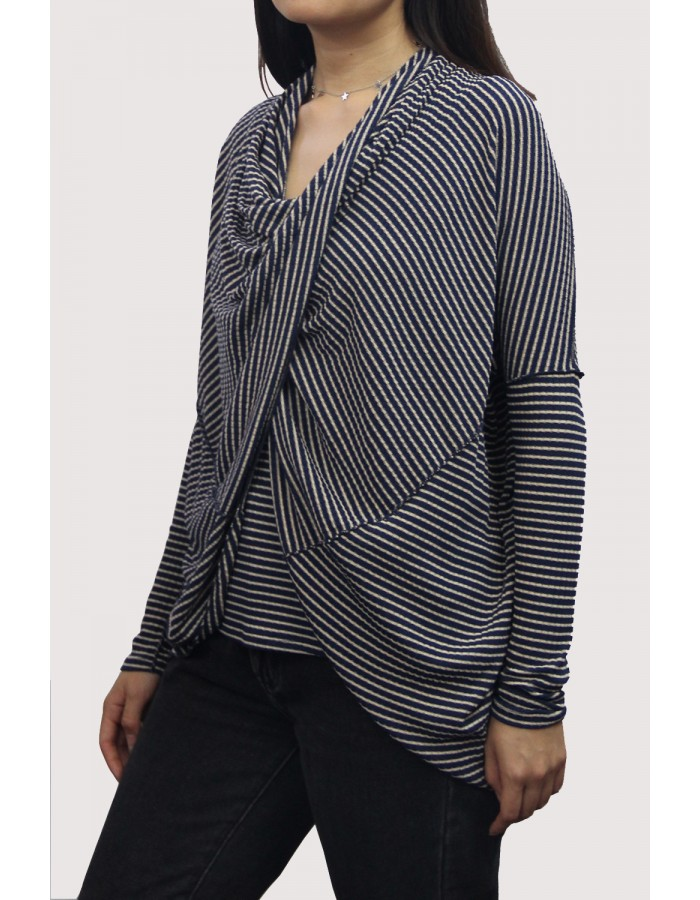 Rib Stripe Twist Back Convertible Cardigan