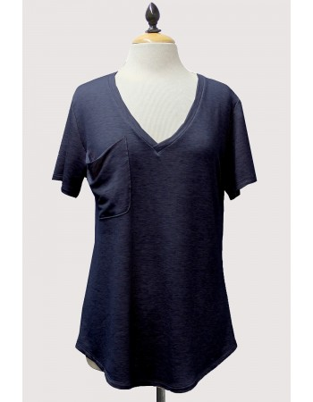 Lightweight French Terry Draped Pocket V-Neck Tee