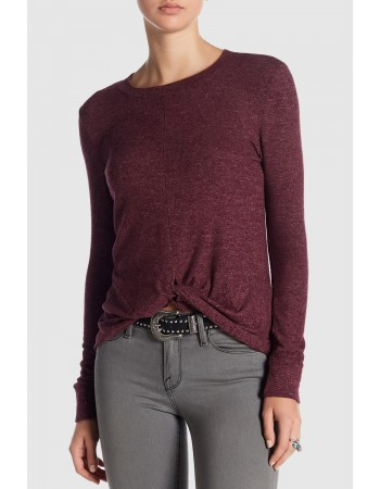 Double Brushed Knit Twist Front Top