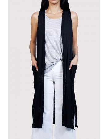 Linen Jersey Side Slit Pocket Vest