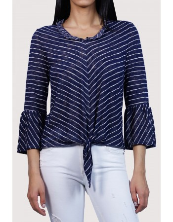 Stripe Bell Sleeve Tie Front V-Neck