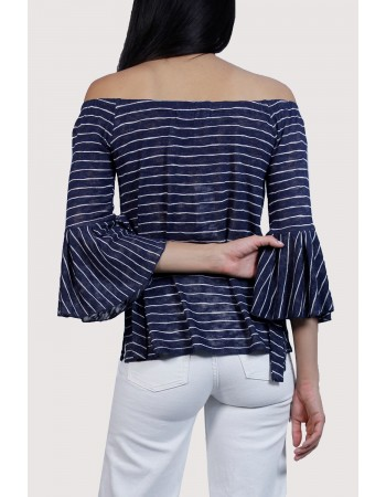 Stripe Off Shoulder Tie Bell Sleeve