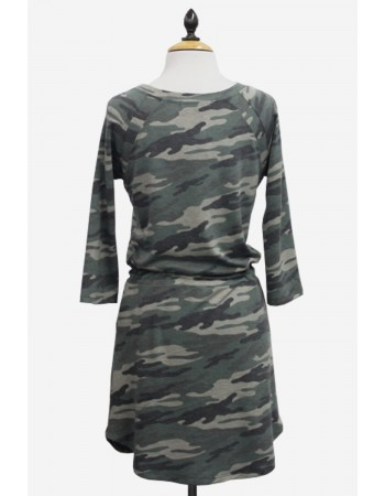 Camo French Terry Raglan Cinched Waist Tunic