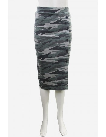 Camo French Terry Pencil Skirt