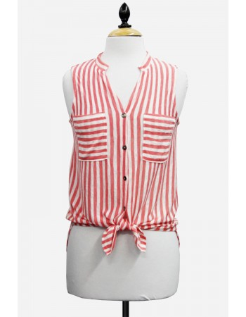 Stripe Button Back Sleeveless Shirt