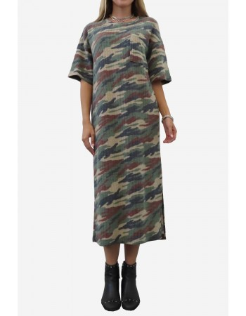 Brushed Camo Waffle Maxi Dress