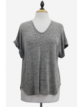 Intermingle Rolled Sleeve V-Neck