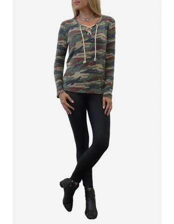 Brushed Camo Waffle Lace Up Top