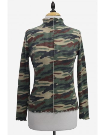 Brushed Camo Waffle Funnel Neck Top