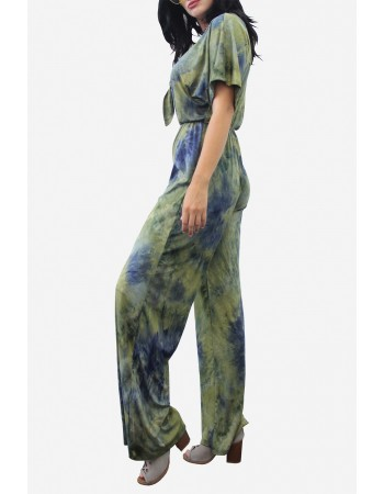 Soft Tie Dye Deep V-Neck Jumpsuit