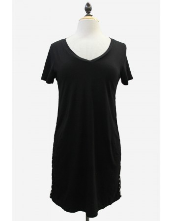 Cotton Jersey V-Neck Eyelet Trim Tunic