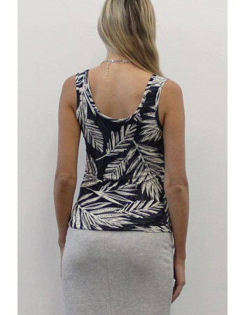 Leaf Print Deep U Neck Tank