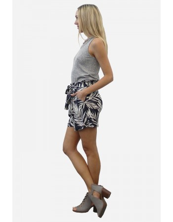 Leaf Print Tie Pocket Shorts