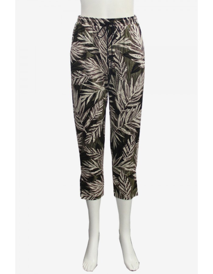 Leaf Print Cropped Tapered Pant