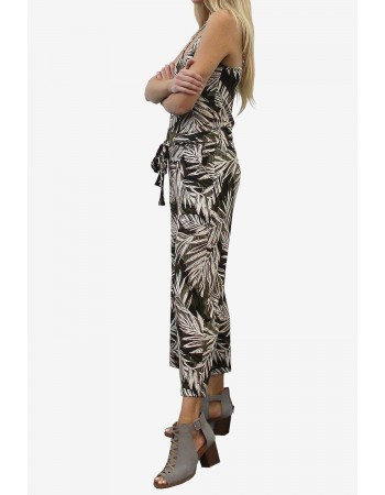 Leaf Print Tie Pocket Pant