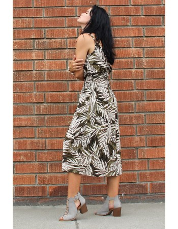 Leaf Print Smocked Waist Dress