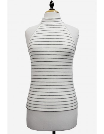 Brushed Rib Mock Neck Halter Tank