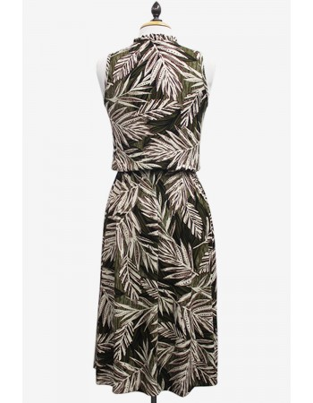 Leaf Print Ruffle Neck Dress