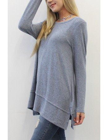 Cozy Long Sleeve Pleat Button Back