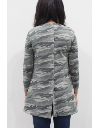 Camo French Terry 3Q Button Back