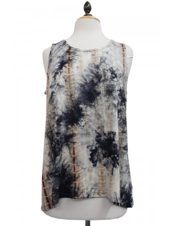 Tie Dye Button Back Tank Navy Brown