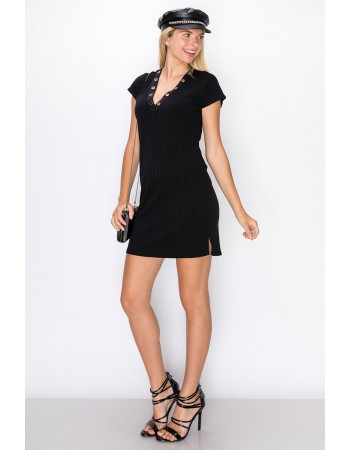 Rib Grommet V-Neck Tee Dress