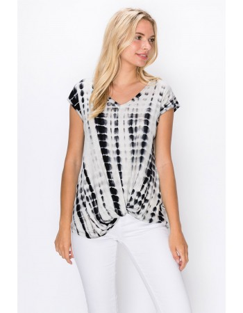 Tie Dye V Neck Twist Front Black White Bamboo