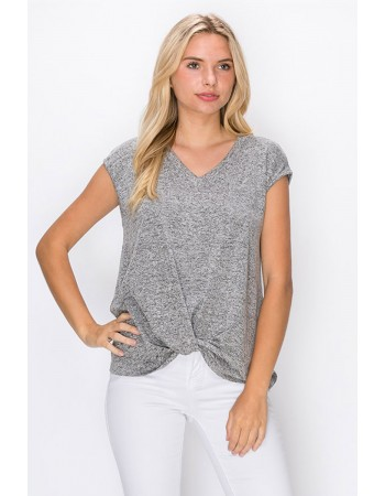 Intermingle V-Neck Twist Front Top