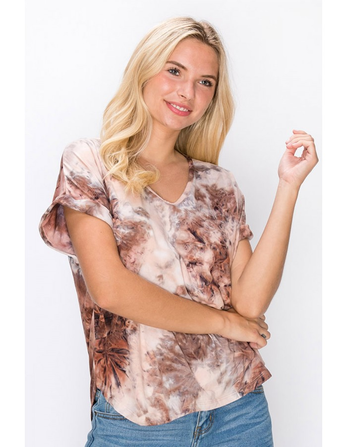 Soft Tie Dye Rolled Sleeve V-Neck