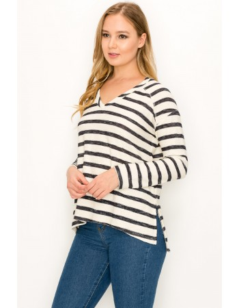 Textured Stripe V-Neck Dolman
