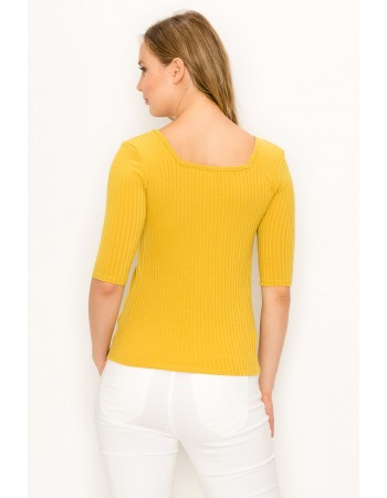 Rib Square Neck Elbow Sleeve
