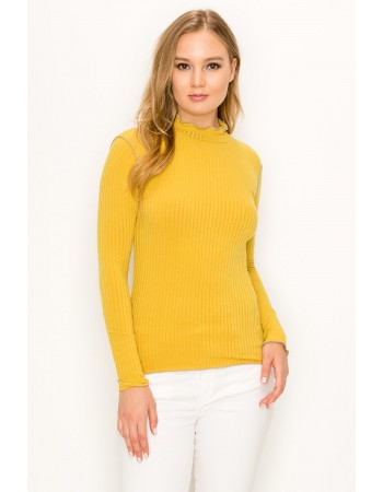 Rib Contrast Stitch Mock Neck