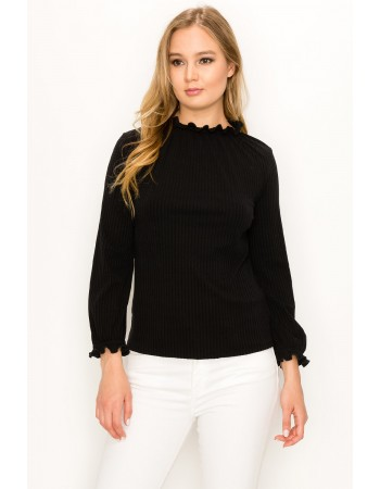 Rib Elastic Funnel Neck Trim