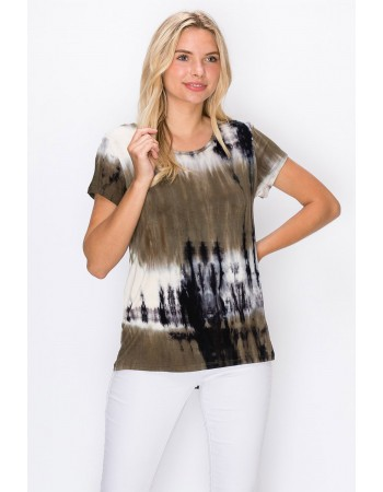 Tie Dye Short Sleeve Button Back Olive Grey