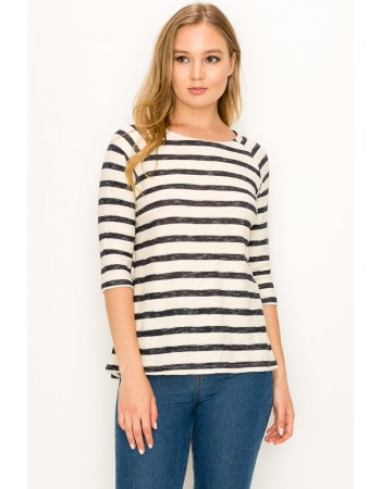 Textured Stripe 3/4 Sleeve Button Back