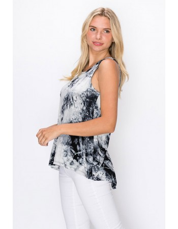 Tie Dye Button Back Tank Grey Black