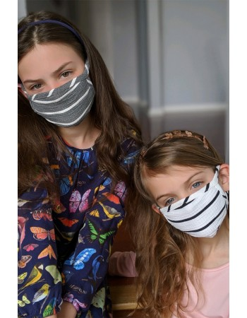 KIDS BASIC STRIPE MASK - GREY