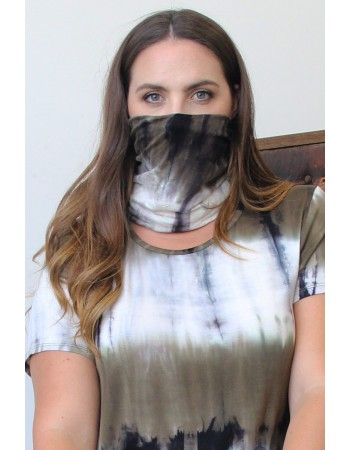 Tie Dye 2-Way Face/Head Cover - Olive/Grey