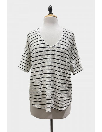 Stripe V Neck Dolman Tee Elbow Sleeve