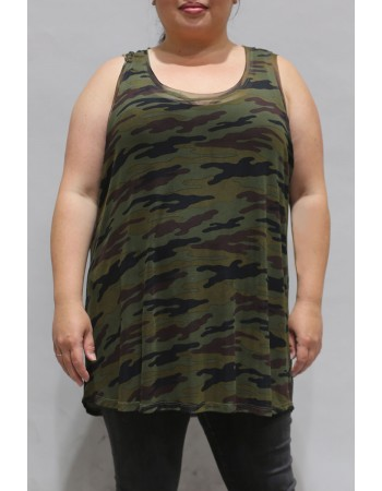 Camo Mesh Basic Tank Plus Size